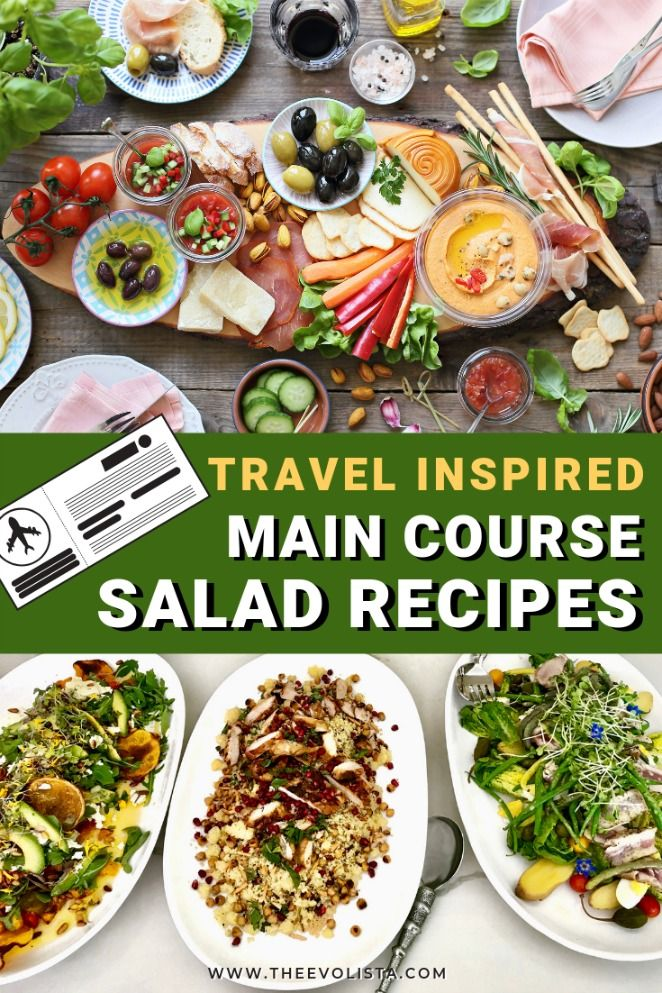 Travel Inspired Main Course Salad Recipes that are easy, delicious and will remind you of your favorite trips.