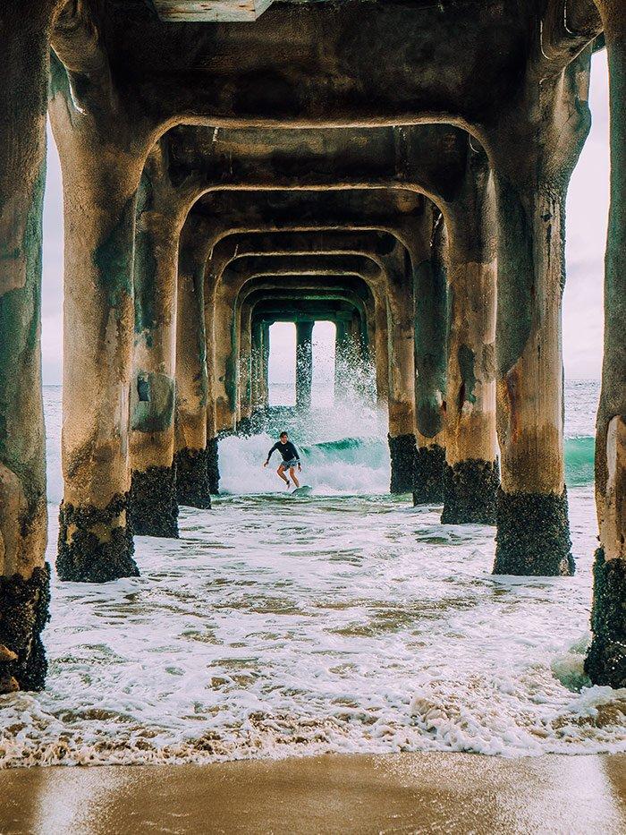 Manhattan Beach Pier Surfing
